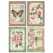 Stamperia A4 Rice Paper - Botanic Flower Cards - DFSA4361